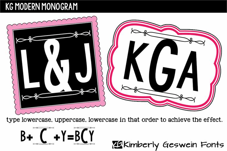 KG Modern Monogram font by Kimberly Geswein