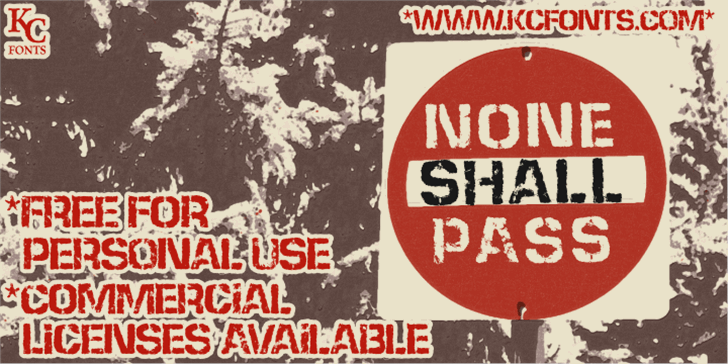 None Shall Pass Font sign poster