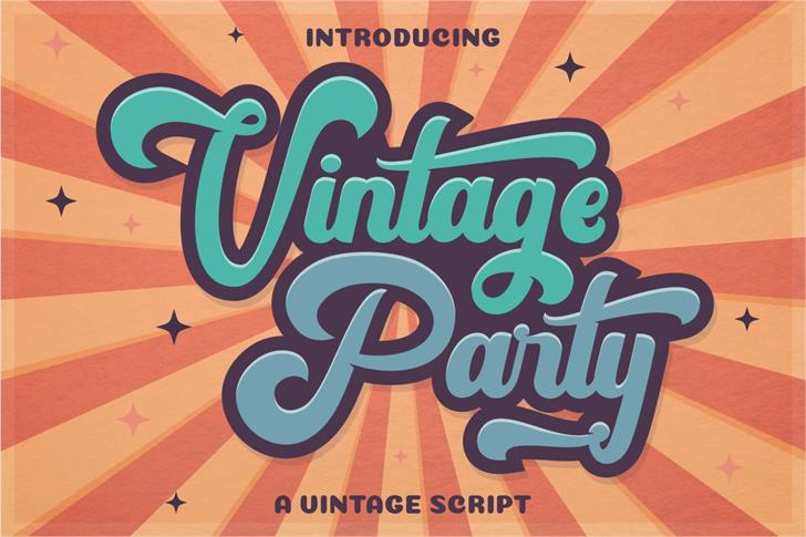 Vintage Party FreeVersion Font poster cartoon