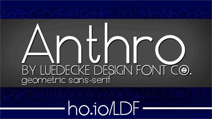 Anthro Font screenshot design