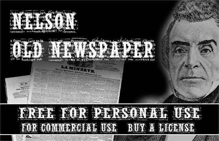 NelsonOldNewsPaper Font text poster