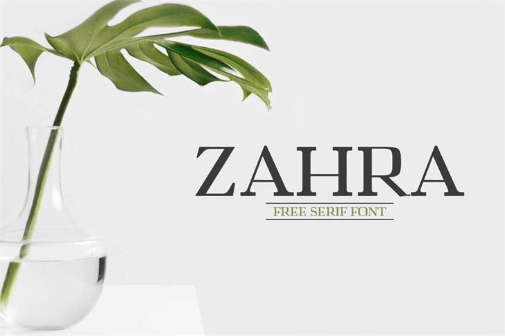 Zahra Font design graphic