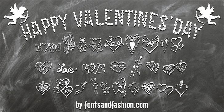 HAPPY VALENTINE'S DAY Font handwriting drawing