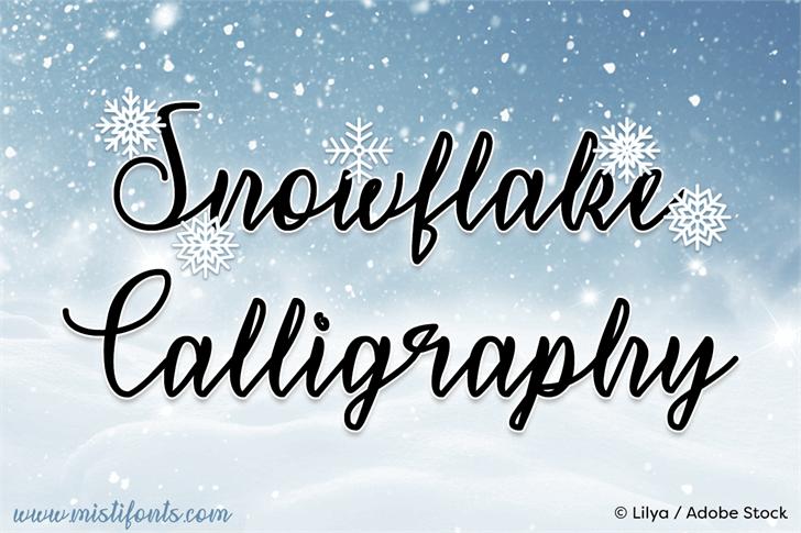 Snowflake Calligraphy Font handwriting text