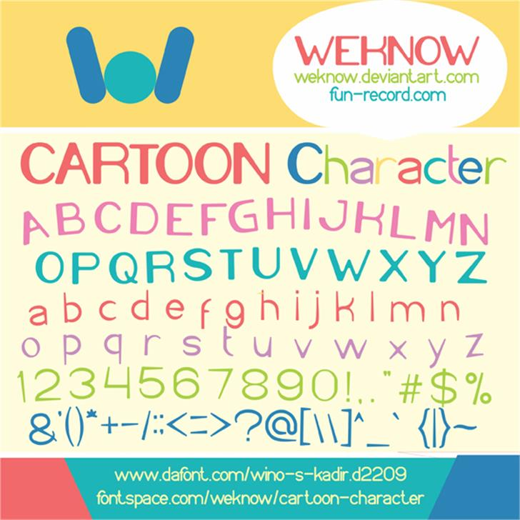 Cartoon Character Font graphic design
