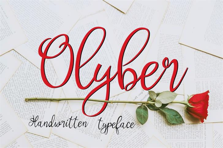 Olyber Font text handwriting