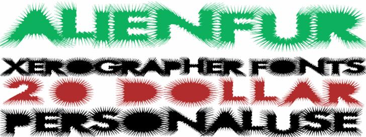 AlienFur Font design illustration