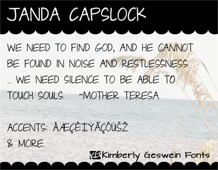 Janda Capslock Font text typography