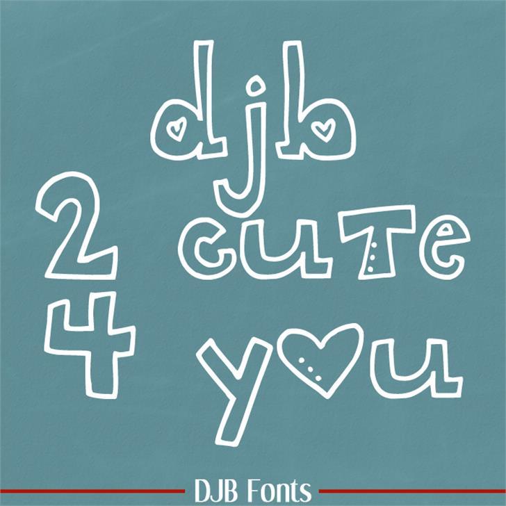 DJB 2CUTE4U Font blackboard text