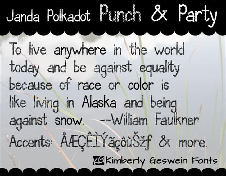 Janda Polkadot Punch Font text screenshot