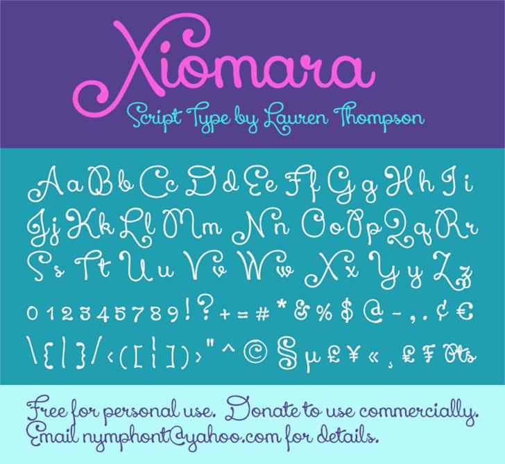 Xiomara Font screenshot text