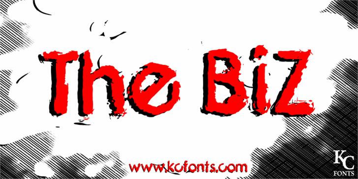 The Biz Font cartoon drawing