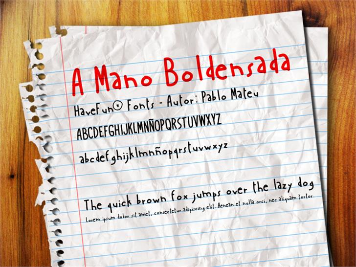 AManoBoldensada Font handwriting screenshot