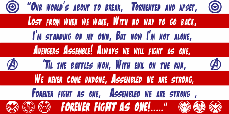 The Mighty Avengers Font screenshot red