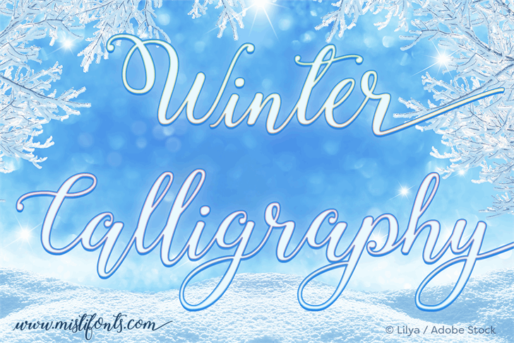 Winter Calligraphy Font typography text