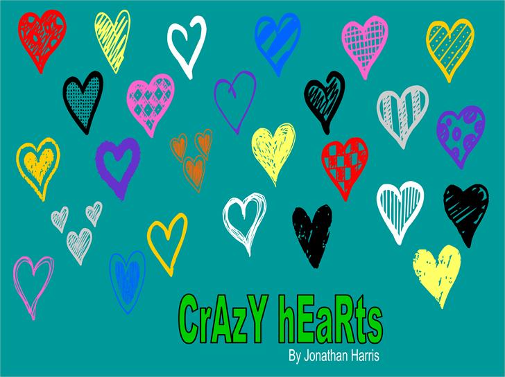 Crazy Hearts Font cartoon design