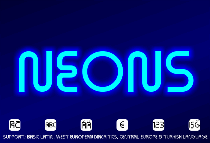 Neons Font screenshot design