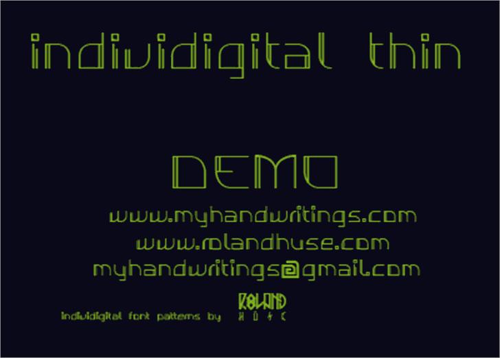 Individigital Thin Font screenshot design
