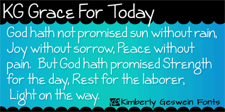 KG Grace For Today Font screenshot design