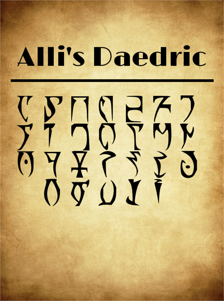AllisDaedric Font handwriting text