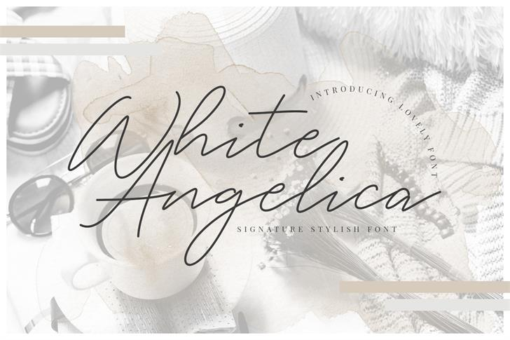 White Angelica Font handwriting text