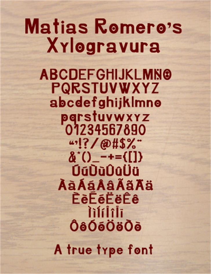 Xylogravura Font text screenshot