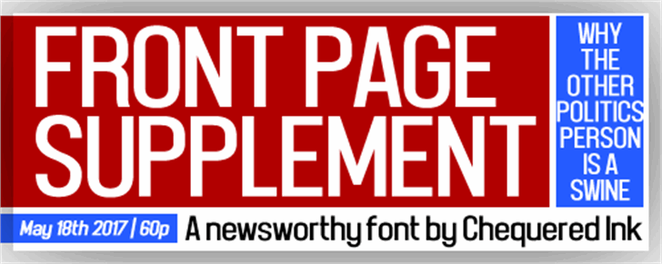Front Page Supplement font by Chequered Ink