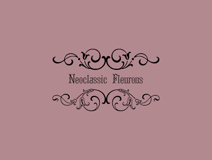 NeoclassicFleuronsFree Font design illustration