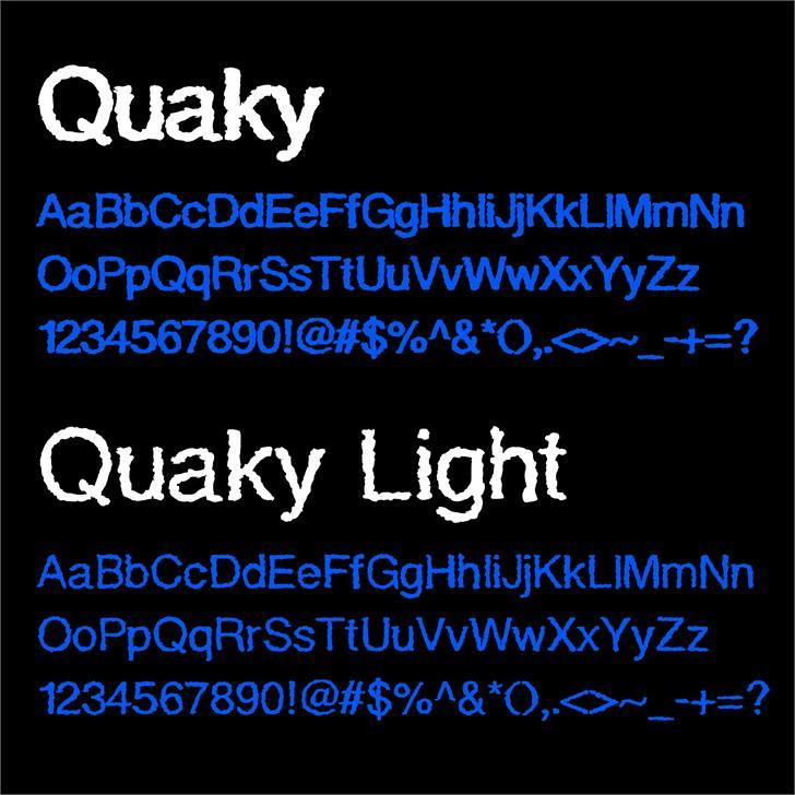 QuakyLight Font screenshot design
