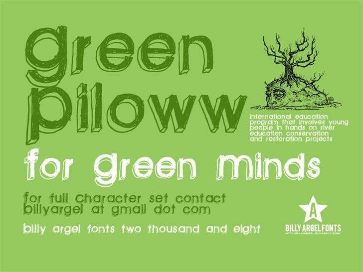 green piloww font by Billy Argel