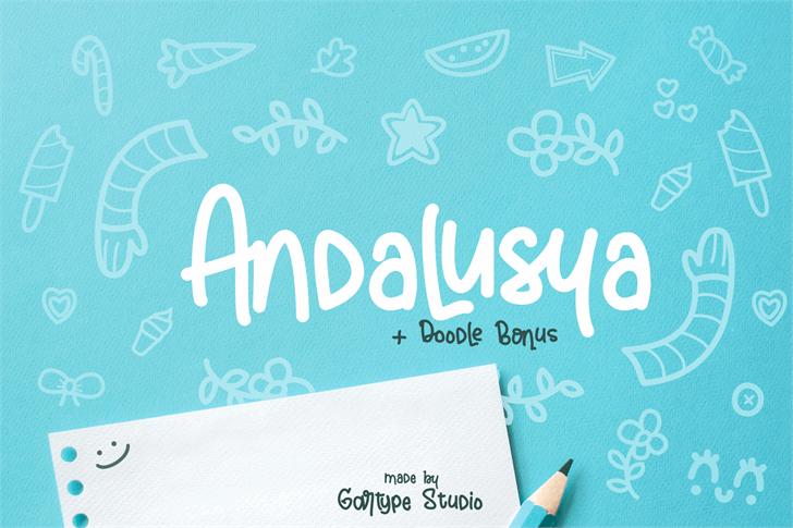Andalusya[Demo] Font handwriting design