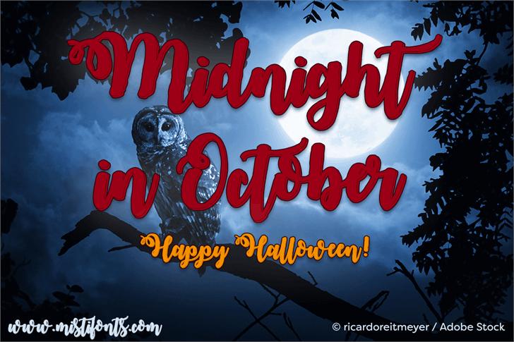 Midnight in October Font poster cartoon