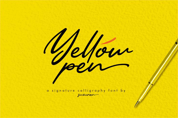Yellow Pen Font handwriting design