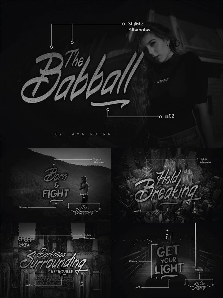 Babball Display Personal Use Font sign blackboard