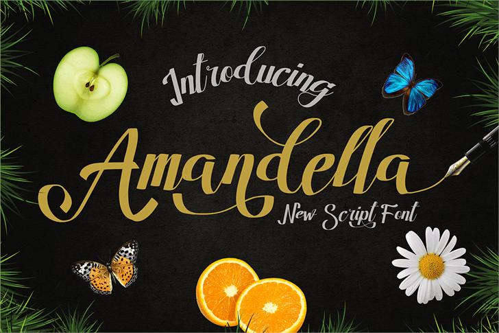 Amandella Script Font text book