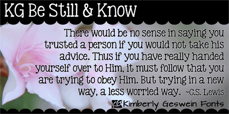 KG Be Still & Know Font text screenshot