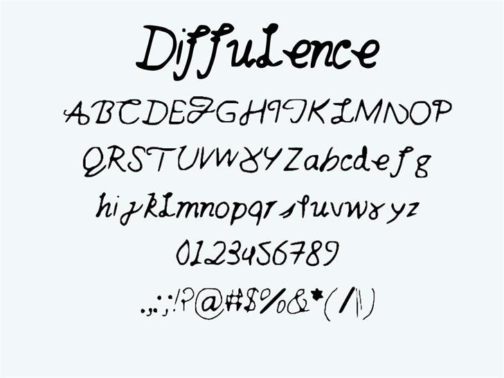diffulence Font handwriting text