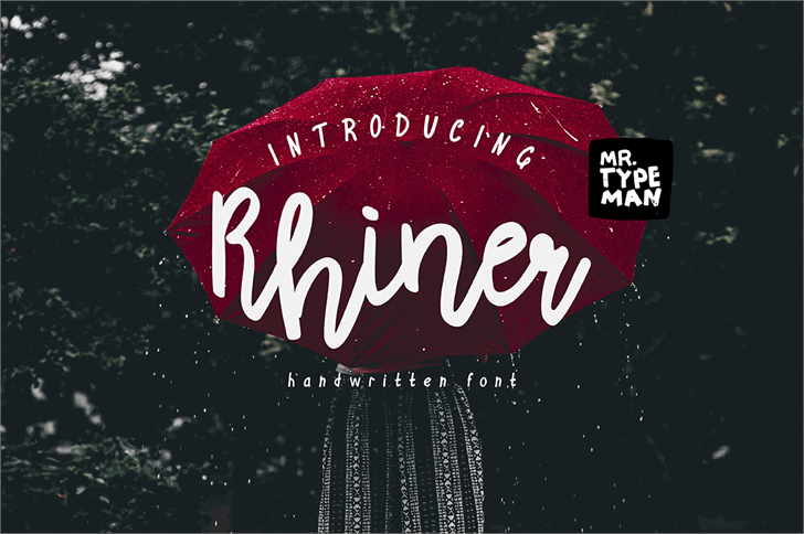 Rhiner Font tree sign