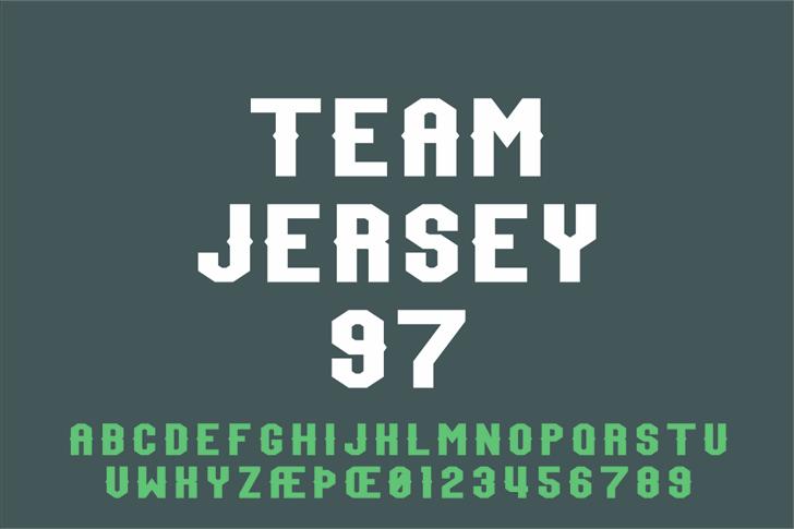 Team Jersey 97 Font design poster