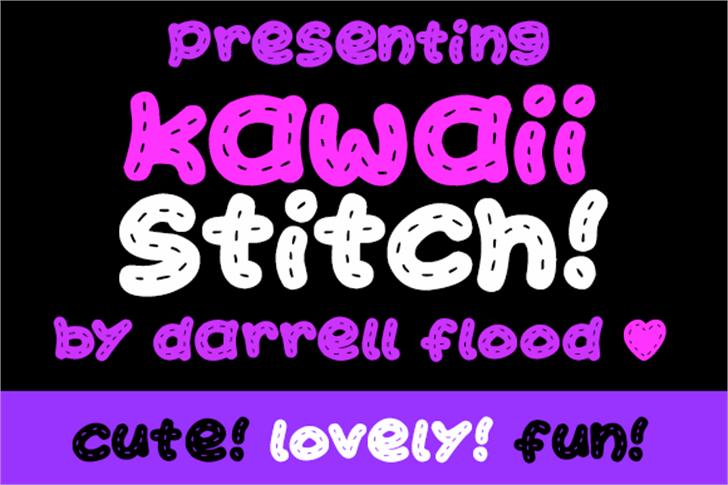 Kawaii Stitch Font cartoon design