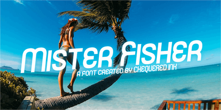 Mister Fisher Font poster beach