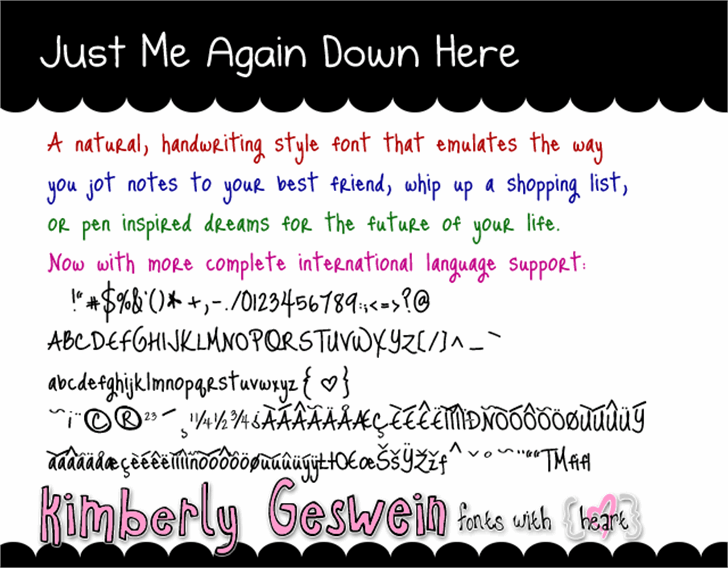Just Me Again Down Here Font text graphic