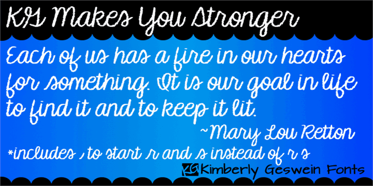 KG Makes You Stronger Font typography screenshot