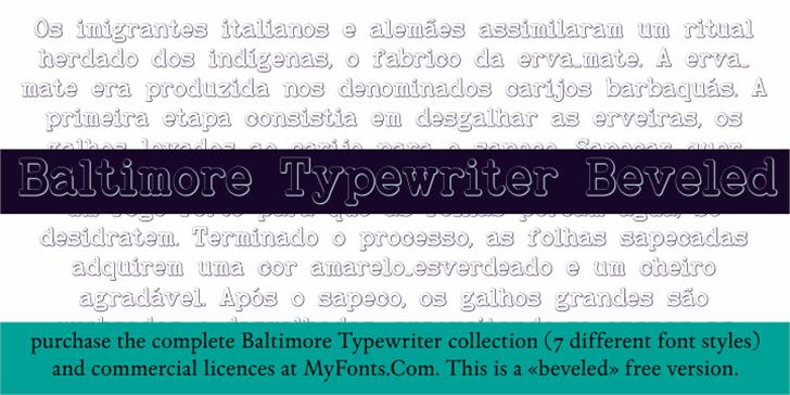 BaltimoreTypewriterBold Beveled Font text font