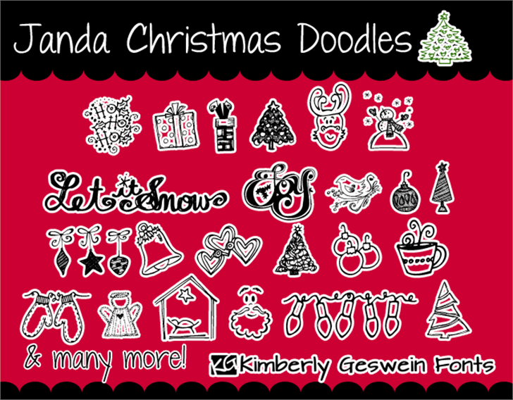 Janda Christmas Doodles font by Kimberly Geswein