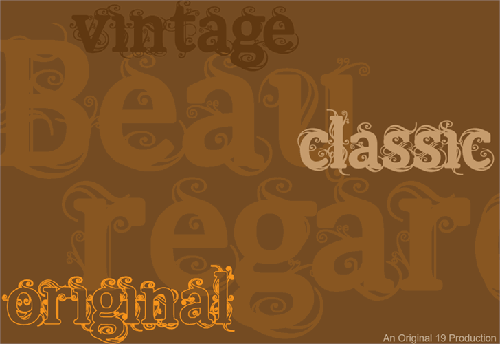 Beauregard Font design illustration