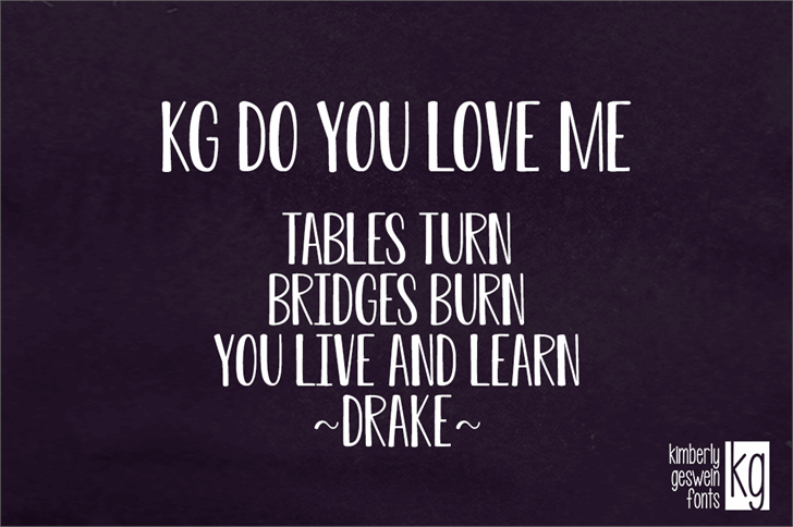 KG Do You Love Me Font poster text