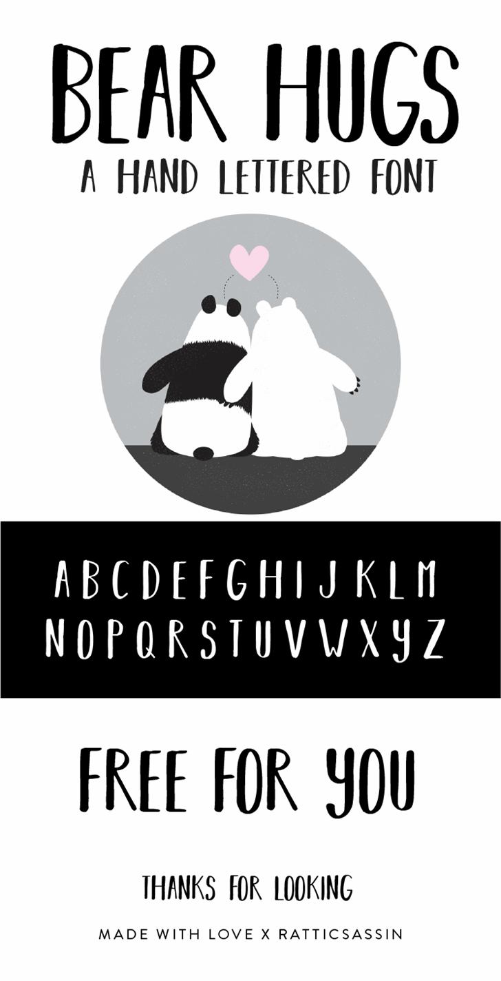 BEAR HUGS BY RATTICSASSIN Font cartoon design