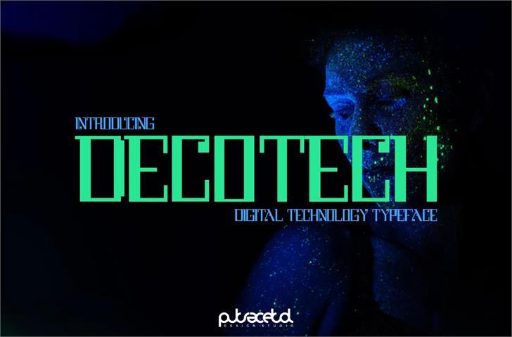 DecoTech Font screenshot dark