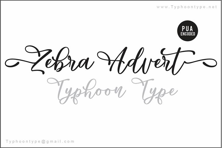 Zebra Advert Font handwriting